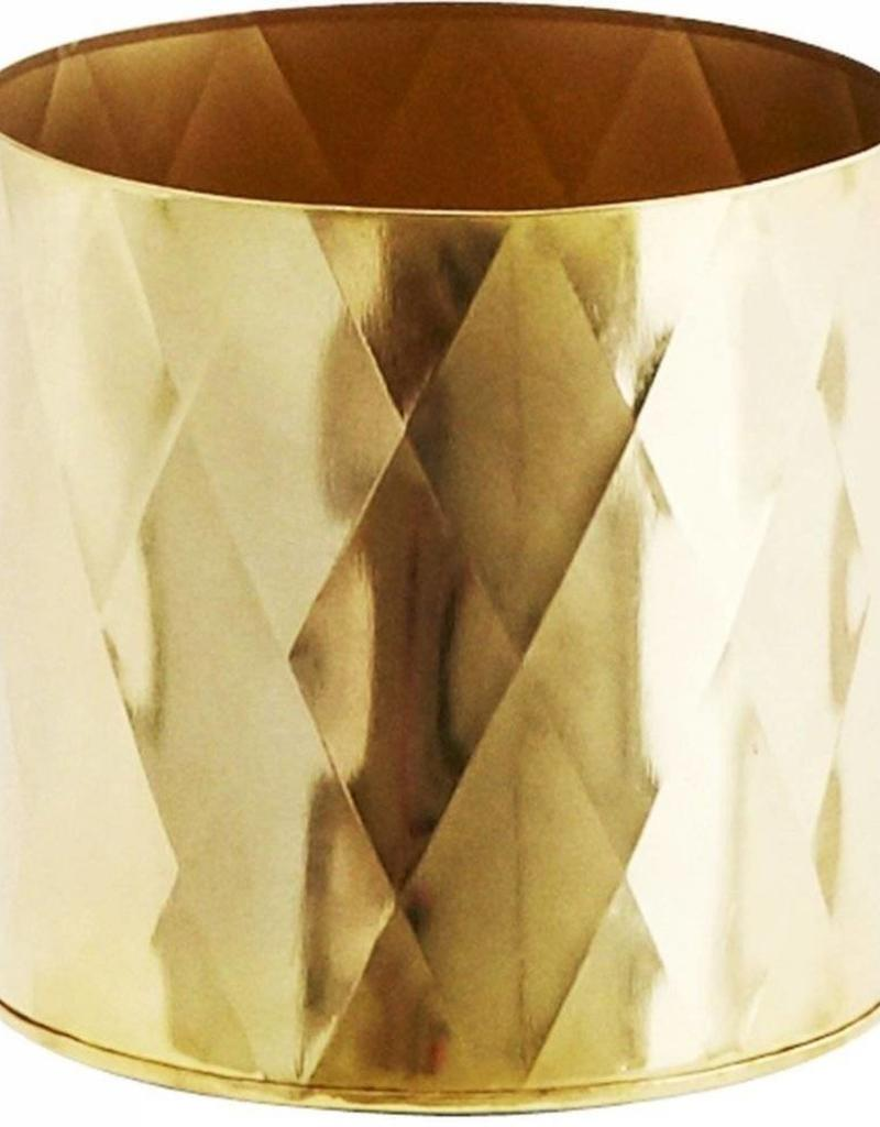 Madam Stoltz Madam Stoltz - Bloempot iron harlequin pattern - gold small
