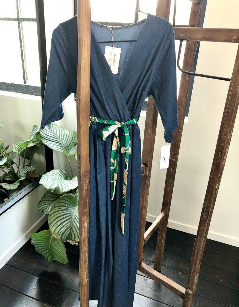 Jeans dress met riem