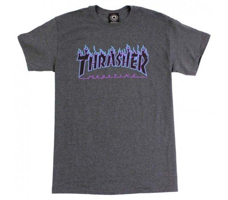 Thrasher Flame Logo Tee Dark Grey