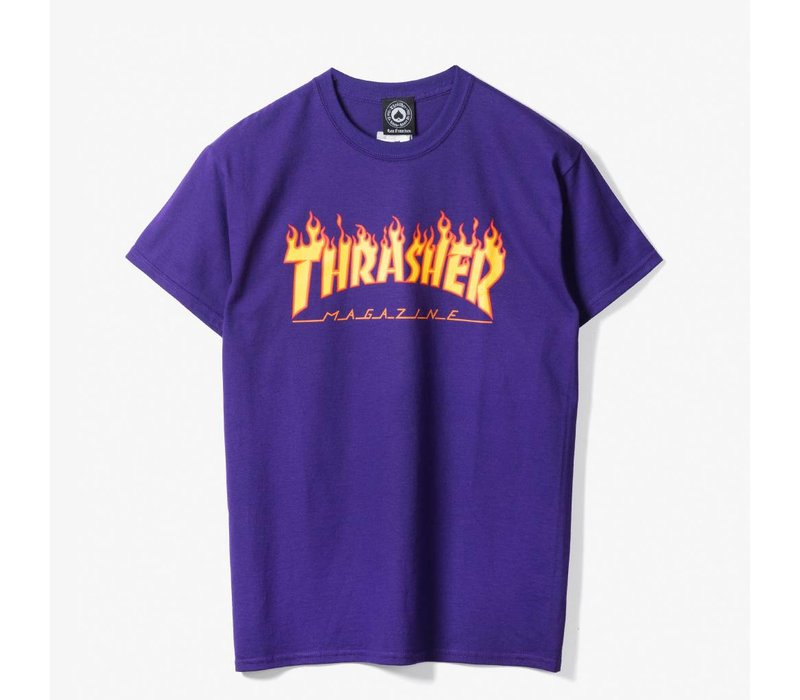 Thrasher Flame Logo Tee Purple