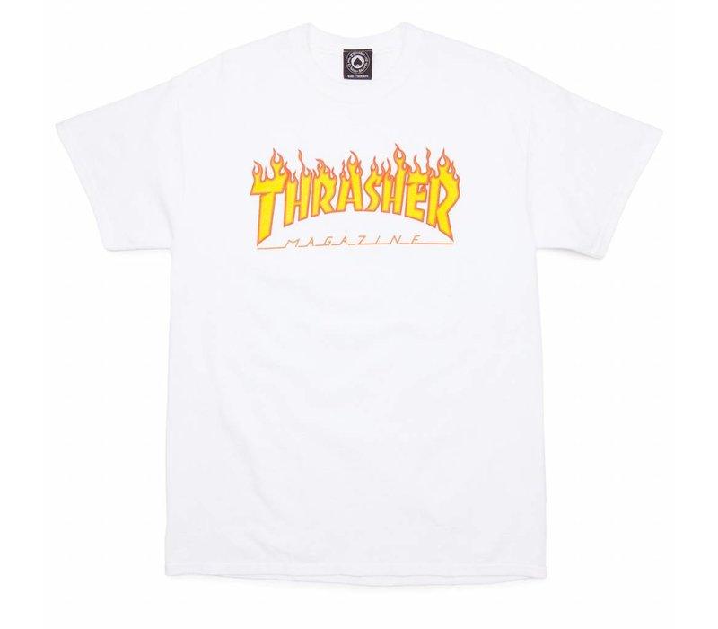 Thrasher Flame Logo Tee White