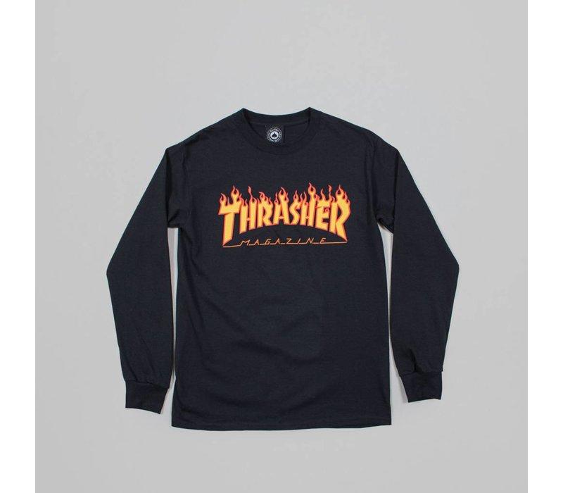 Thrasher Flame Logo Ls Black