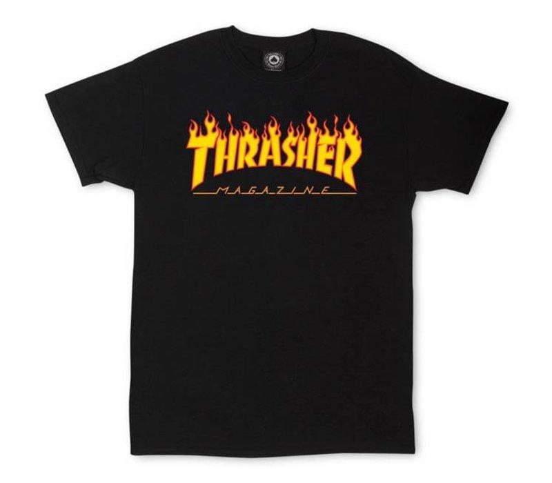 Thrasher Flame Logo Tee Black
