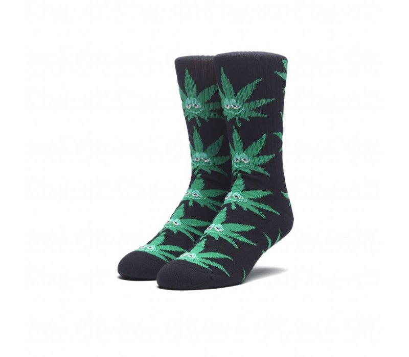 Huf Green Buddy Crew Socks Black