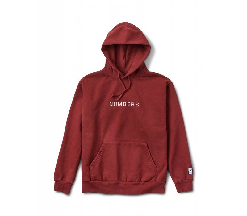 Numbers Embroidered Wordmark Hoodie Burnt Red