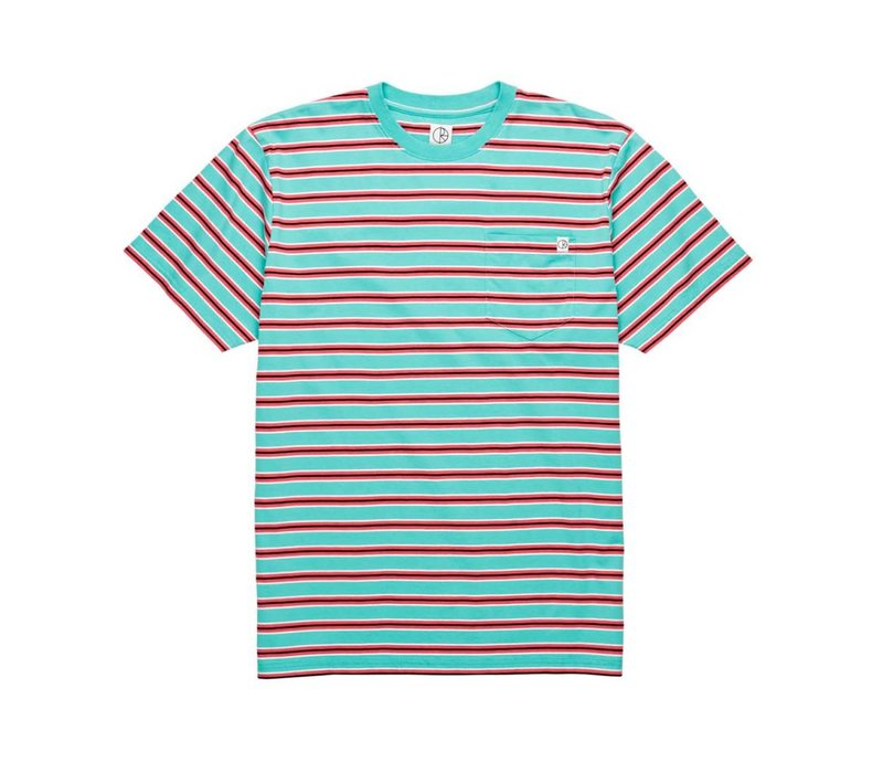 Polar Striped Pocket Tee Mint/Coral Red
