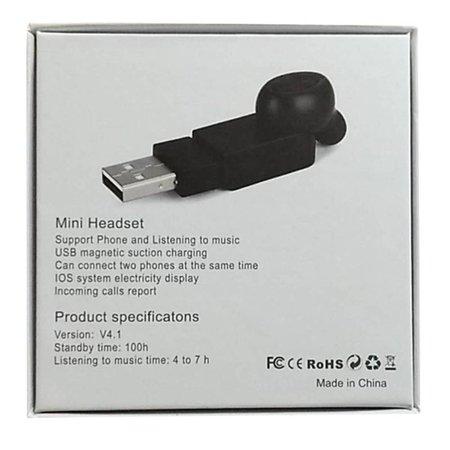 Mini M1 Bluetooth 4.1 Oortje met Oplader - Zwart