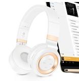 P6 Inklapbare Megabass Bluetooth Hoofdtelefoon - Wit + Goud