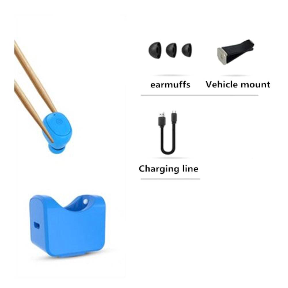 C1 Mini Bluetooth Oortje met Auto Oplader Holder - Blauw