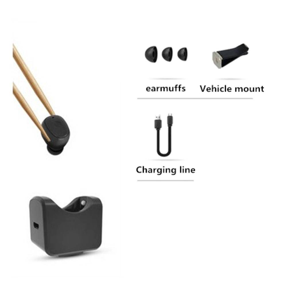 C1 Mini Bluetooth Oortje met Auto Oplader Holder - Zwart