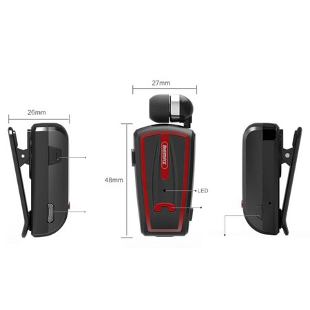 REMAX REMAX T12 Bluetooth Handsfree Headset met Kraagklip