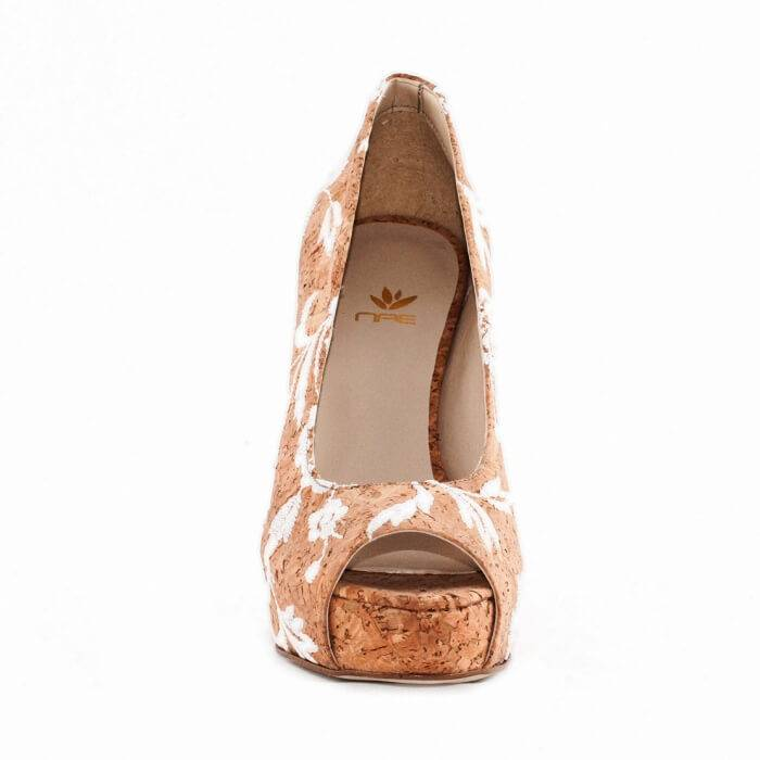 NAE vegan shoes Peeptoes Cork Rose