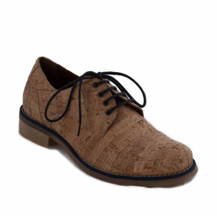 NAE vegan shoes Veterschoen Diana Cork Blue