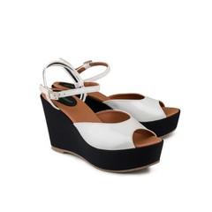 Sandaal Victoria Wedge Wit Zwart