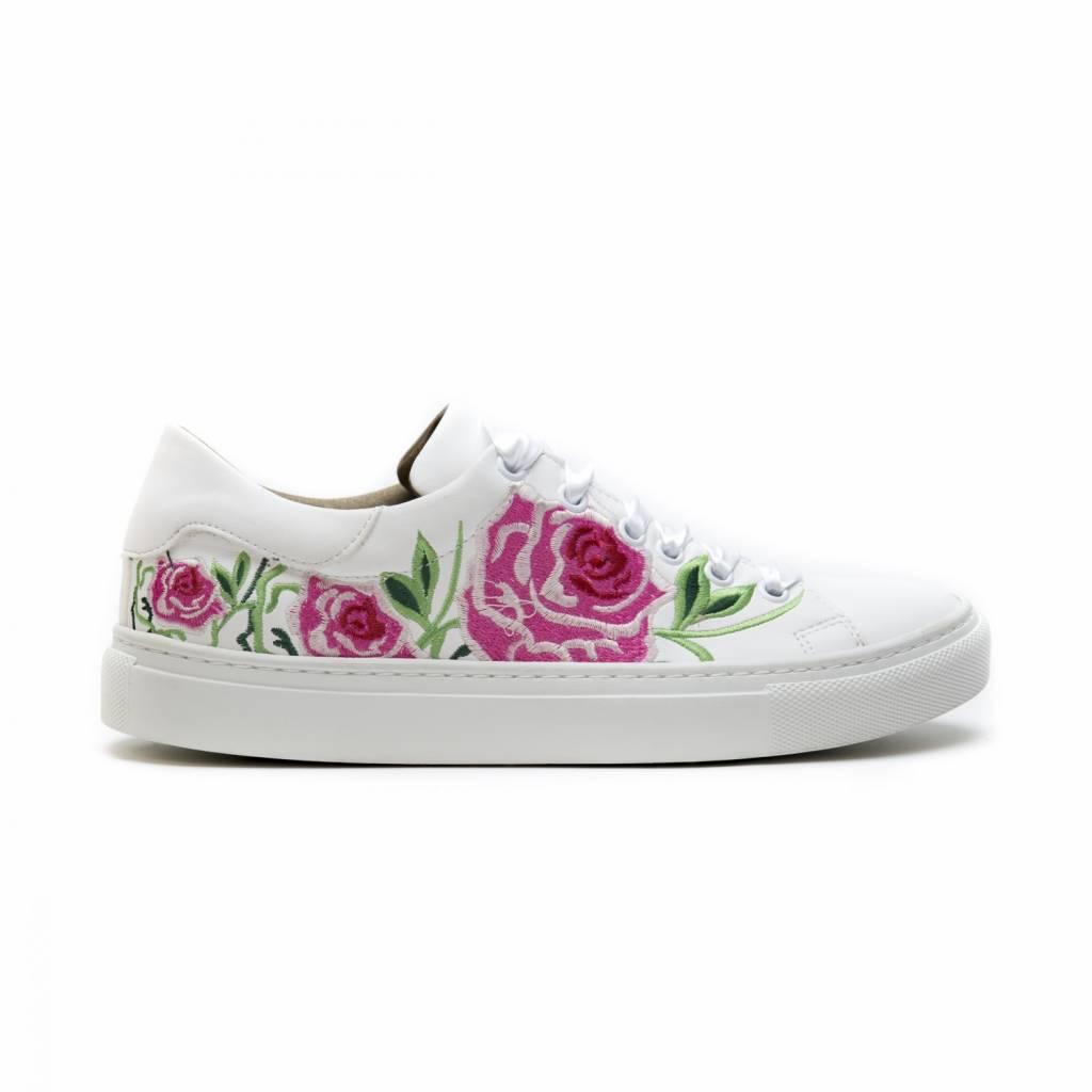 NAE vegan shoes Vegan bloemen sneaker wit