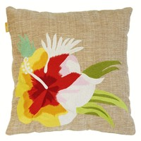 Pacific flower jute cushion