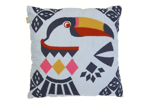 Tucan denim patchwork cushion