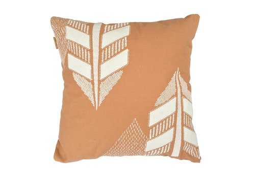 Desert leaf embroidery cushion (canvas/felt)