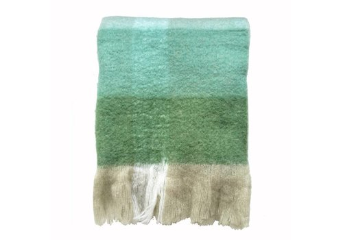 Pea green mohair throw