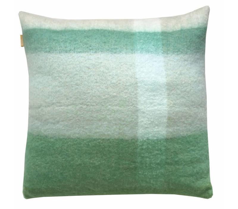 Pea green mohair cushion