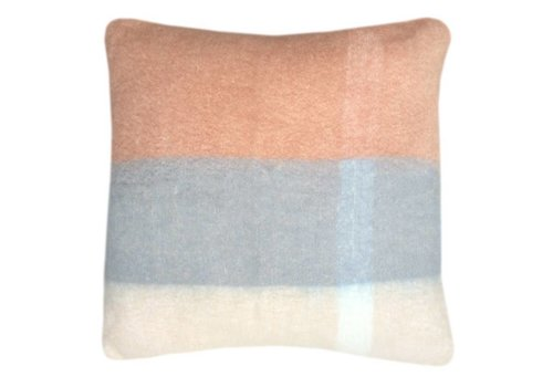 Peach pink mohair cushion