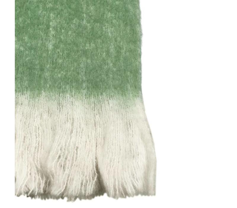 Basil green solid mohair throw