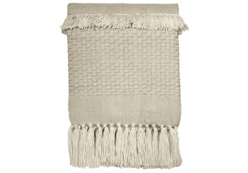 Offwhite fringe throw