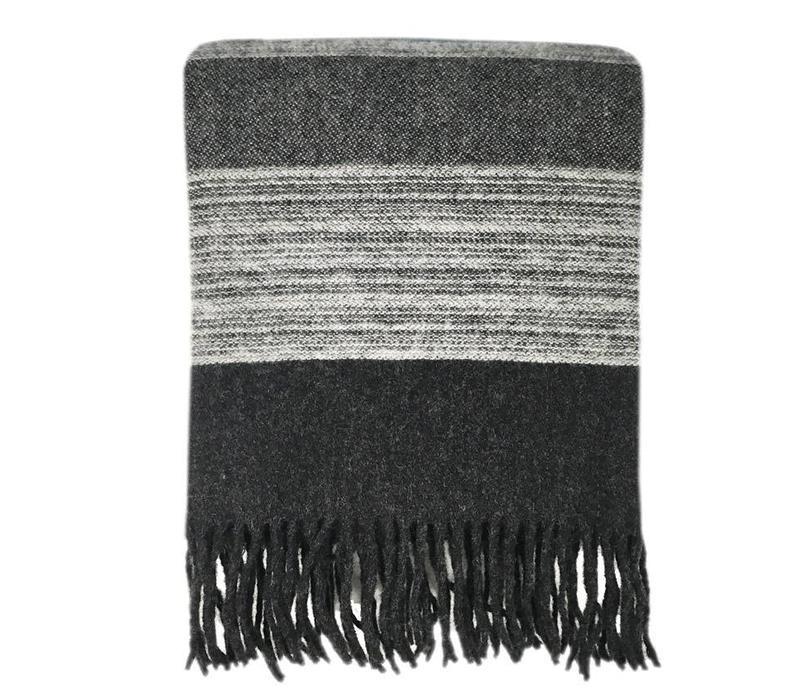 Night black wool throw