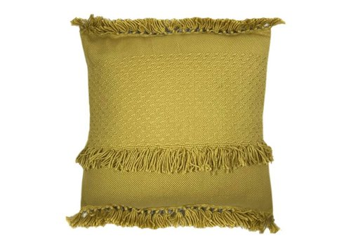 Mustard fringe cushion (NEW)
