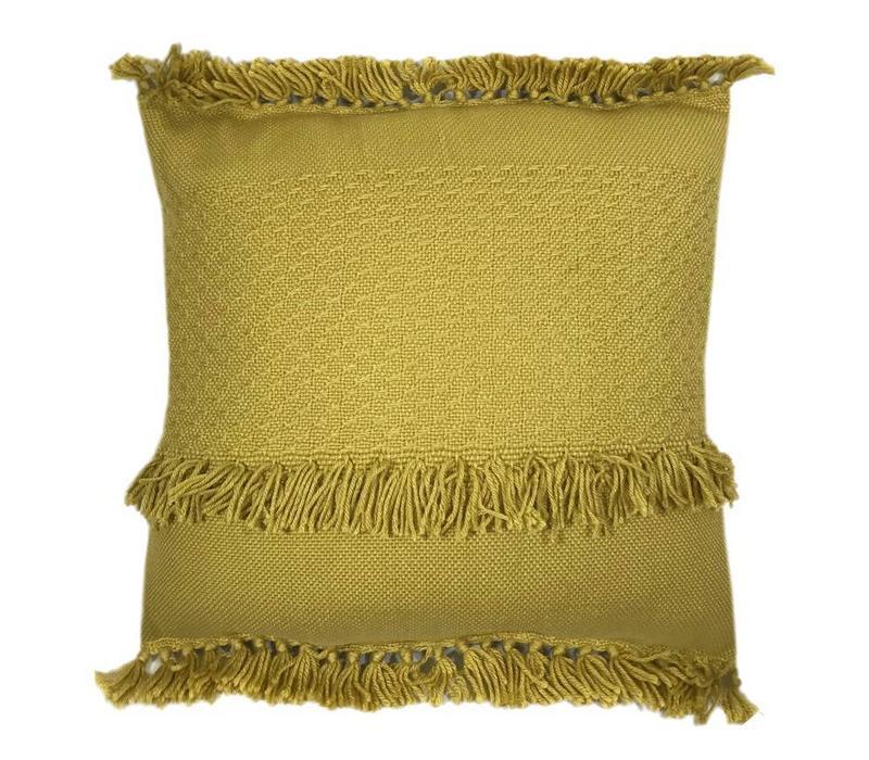 Mustard fringe cushion