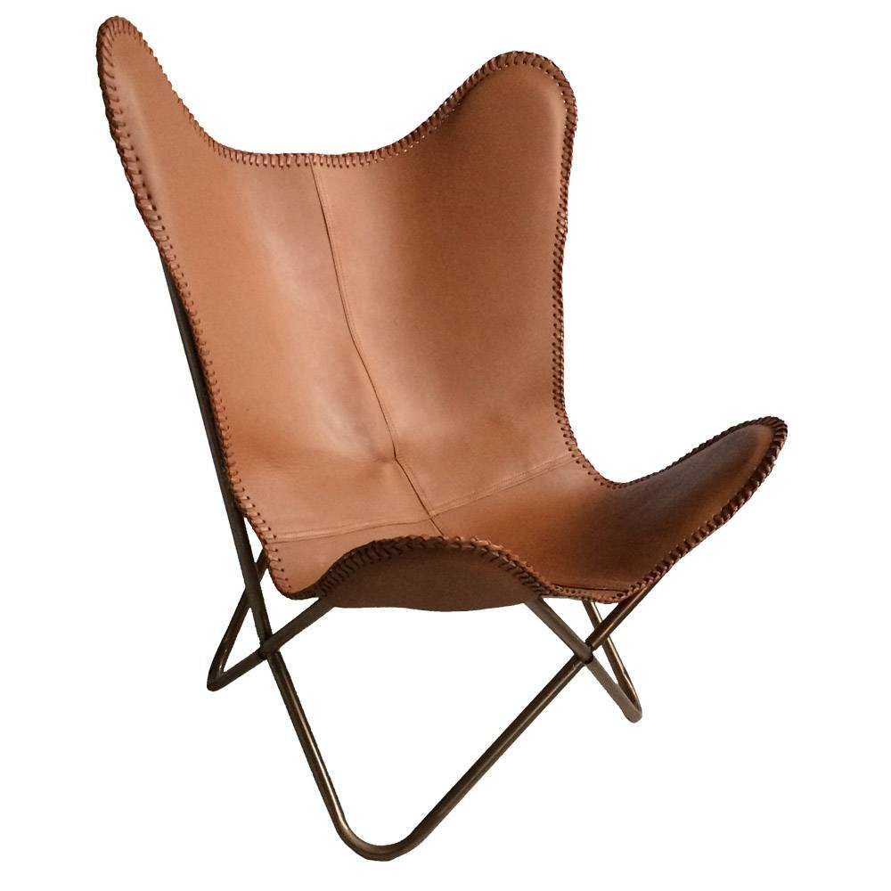 Merveilleux Leather Butterfly Chair Brown. Prev