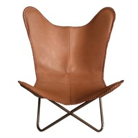 Leather butterfly chair brown