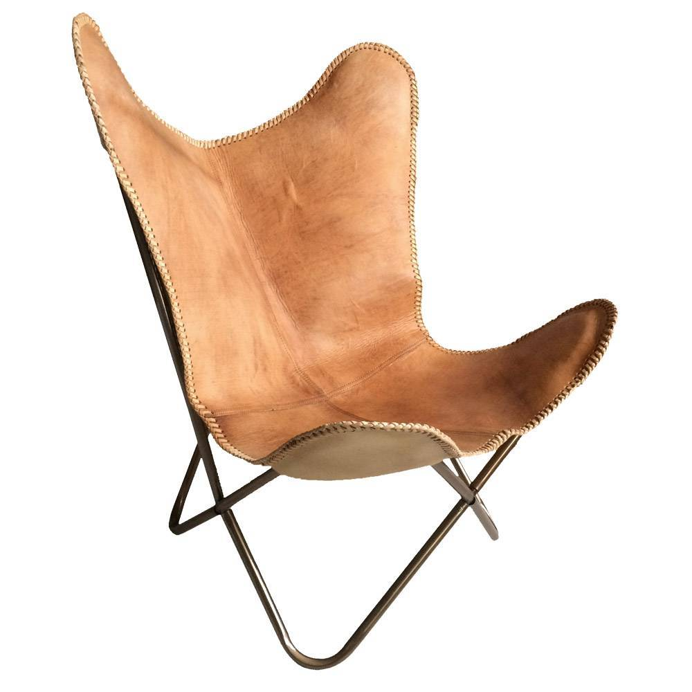 Superior Leather Butterfly Chair Natural Brown. Prev