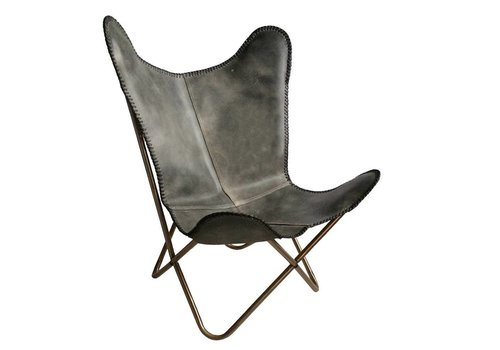 Leather butterfly chair vintage grey (from March 1)