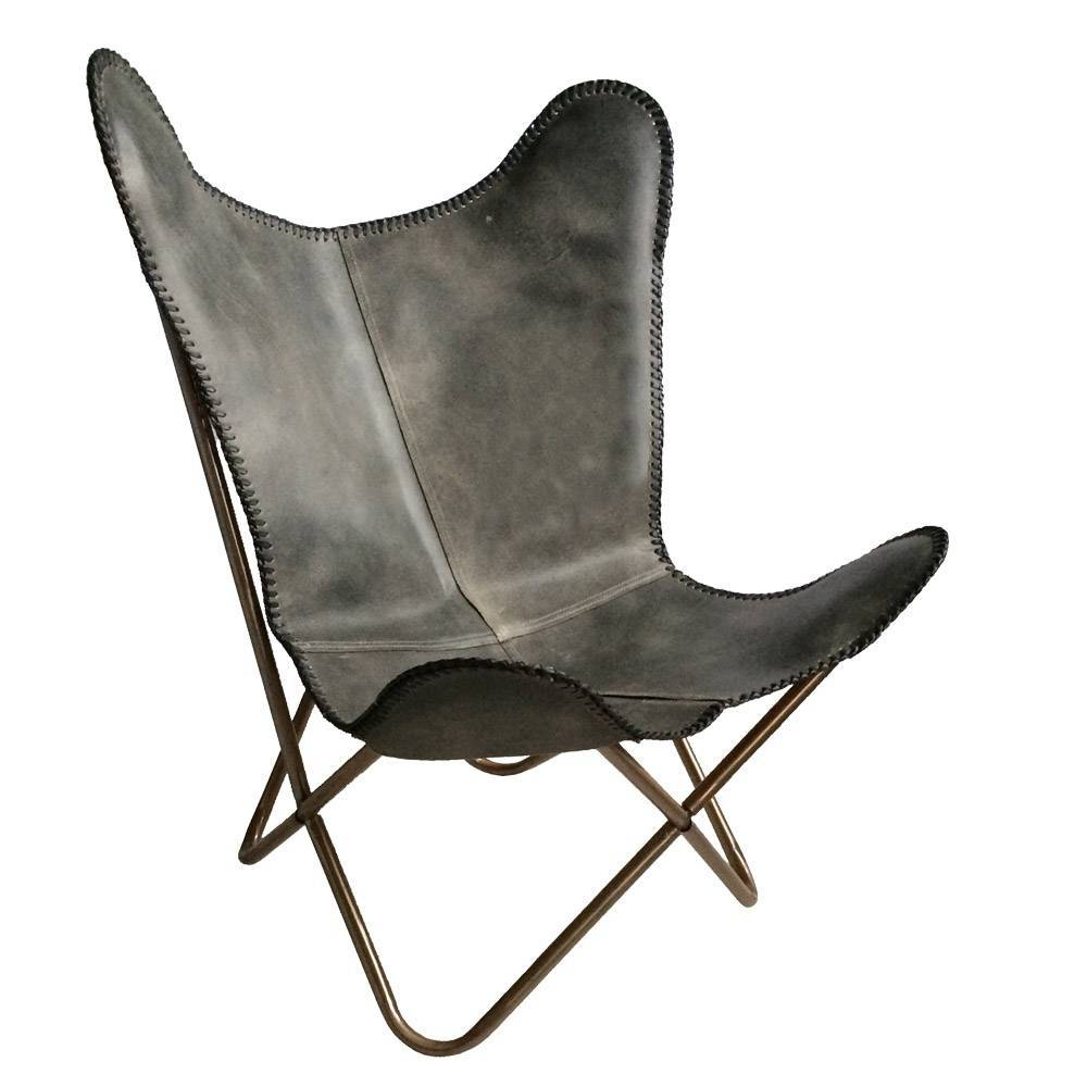 leather butterfly chair vintage grey malagoon malagoon. Black Bedroom Furniture Sets. Home Design Ideas