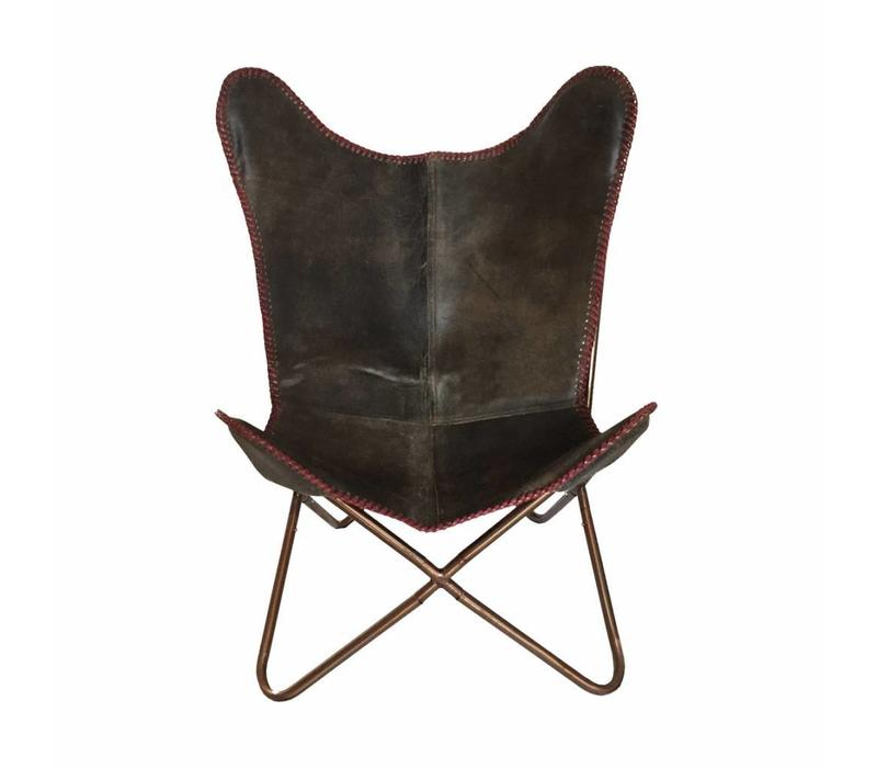 Leather butterfly chair vintage grey red stitch