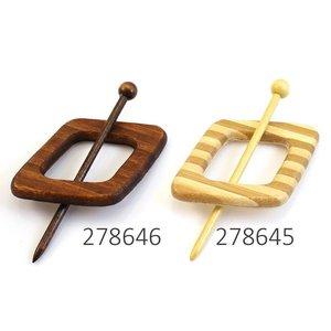 Sluiting hout ruit met streep in 2 kleuren