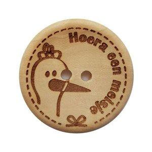Houten knoop - Hoera een meisje 30 mm