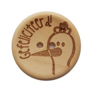 Houten knoop - Gefeliciteerd! 30 mm
