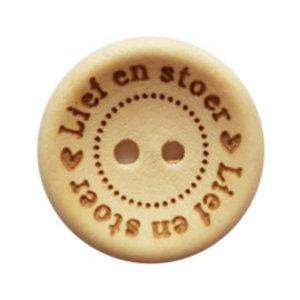 Houten knoop - Lief en stoer 20 mm