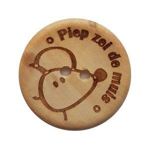 Houten knoop - Piep zei de muis 30 mm