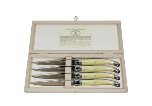 Laguiole Laguiole 4 Steak Knives 2,5 mm Ivory in Box