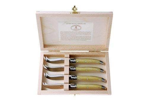 Laguiole Laguiole 4 Käsemesserchen Elfenbein in Kiste