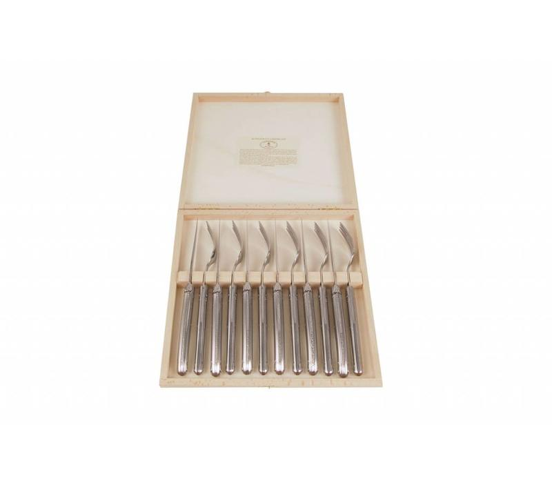 Laguiole 6 Steak Knives 2,5 mm & 6 Forks Stainless Steel in Box