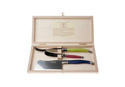 Laguiole Laguiole 3 Cheese Knives London Mix in Box