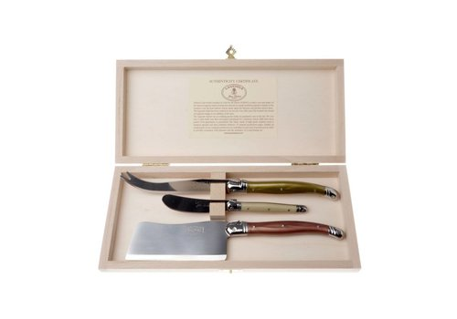 Laguiole Laguiole 3 Cheese Knives Mineral Mix in Box