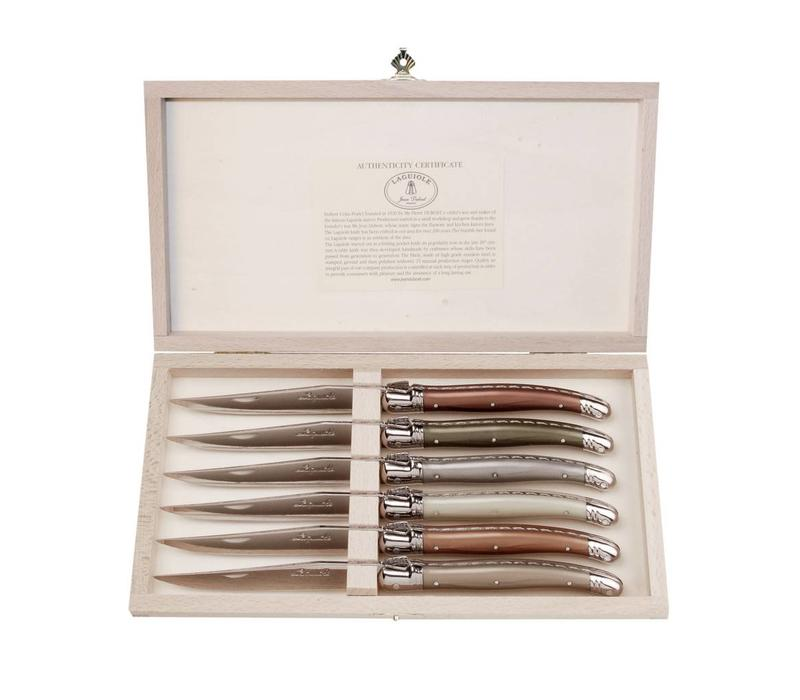 Laguiole 6 Steak Knives 2,5 mm Mineral Mix in Box