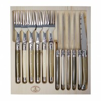 Laguiole 6 Steak Knives & 6 Forks Linen Mix 1,2 mm in Display