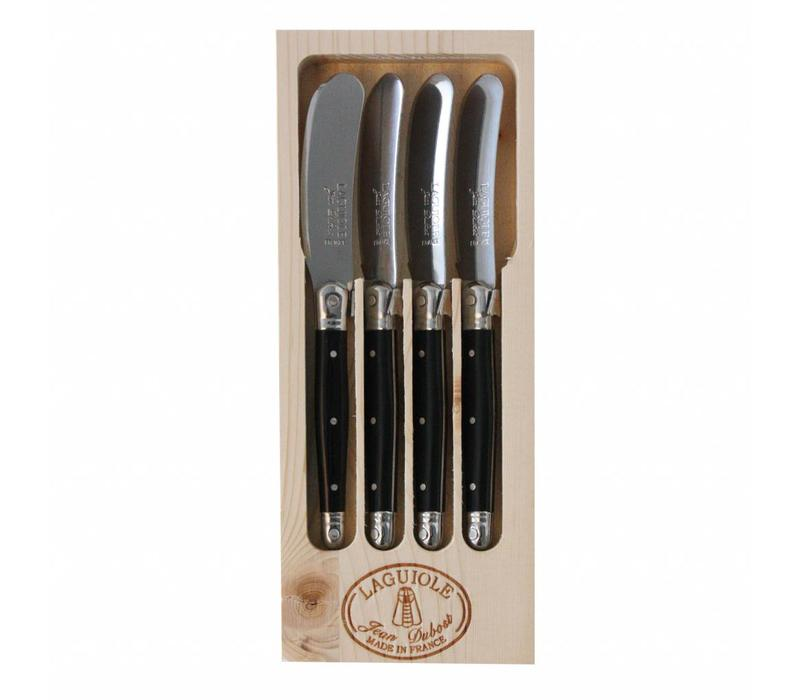 Laguiole 4 Butter Knives Black in Display