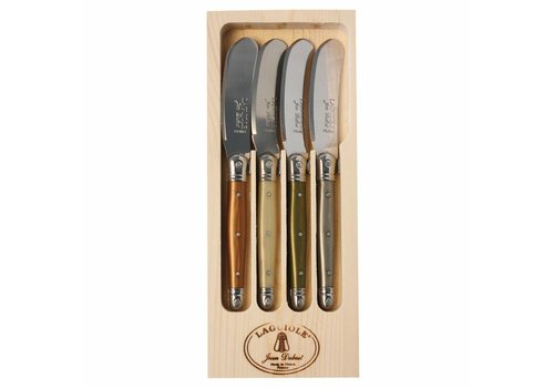 Laguiole Laguiole 4 Butter Knives Mineral Mix in Display